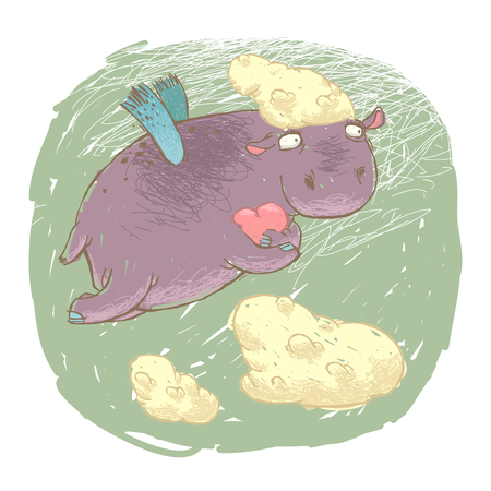 hipopotamo caricatura: Hipop�tamo del vuelo de hadas con un coraz�n en sus patas. Aislado en blanco.