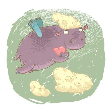 Vliegende fee nijlpaard met een hart in zijn poten. Geïsoleerd op wit.