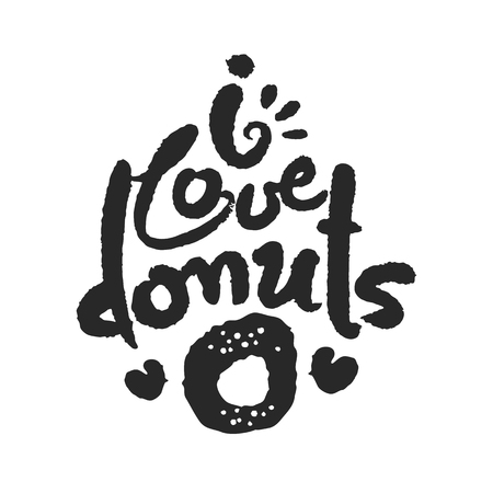 I Love Donuts Calligraphy Lettering