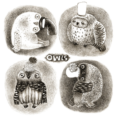 black hole: Four Pastel Owls in Funny Hats