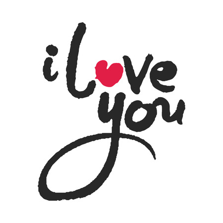 I Love You Calligraphy Lettering with Red Heart Illustration