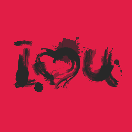 Romantic Watercolor Lettering I Love You Black on Red