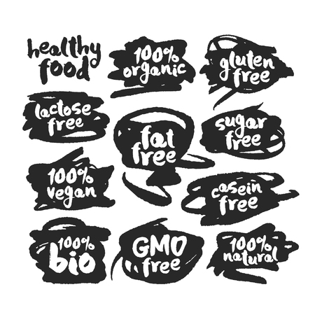 Eco Vegan Food Labels Set on Scribbles illustration.