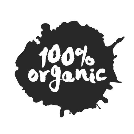 Calligraphy label One Hundred Percent Organic on a black inkblot. Isolated on white.