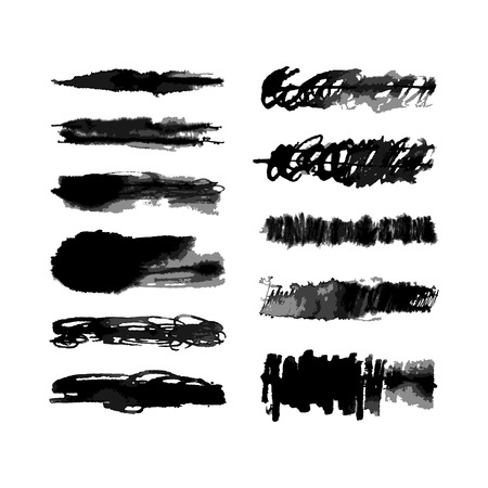 Set of eleven vector hand created watercolor scribbles brushes with transparent gradations of one color. There are all of them on brushes panel. Illustration