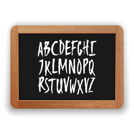 Vector A to Z uppercase letters. Hand written latin alphabet on a blackboard. Isolated on white background. Clipping paths included.