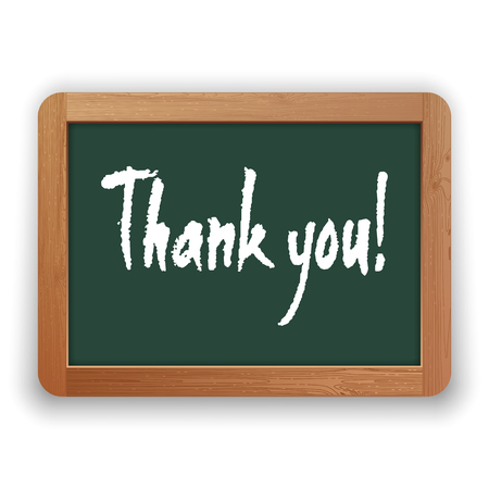Thank you. Vector hand written phrase on a green blackboard. Isolated on white background. Clipping paths included.