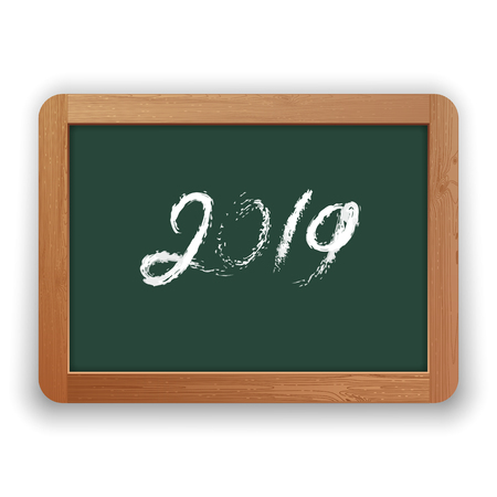 2019. Hand written chalk calligraphy on green chalkboard. Isolated on white background. Clipping paths included.
