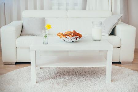 bap: white table and sofa. interior