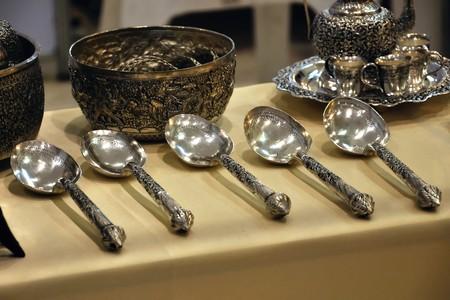 old ladle silverware, art of thailand Stock Photo