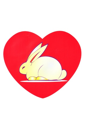 Bunny of love  Rabbit in a red heart  photo