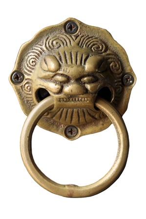 installed: Lion head door handle. Installed on the doors of art in China. Stock Photo