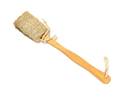 Brush for cleaning the shower is made of luffa. Stock Photo