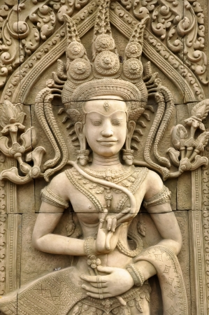 apsara: An Apsara is a female spirit of the clouds and waters in Hindu and Buddhist mythology.
