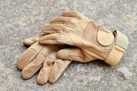 Leather gloves for riding motorcycles and shooting guns. photo
