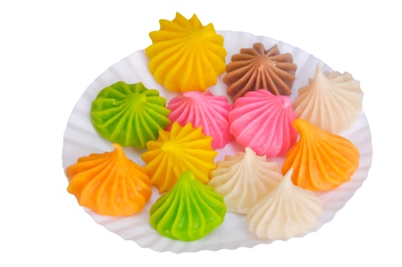 viscosity: Sweet dessert made of flour. The outer surface is solid sugar. The inner is viscosity starchy. There are many colors and fragrant. Stock Photo