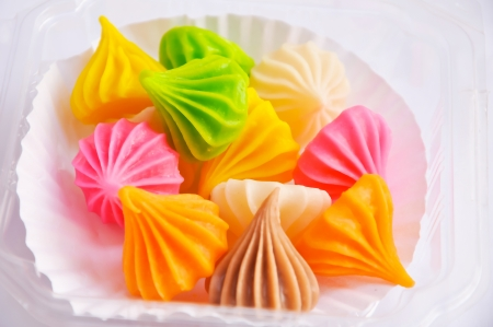 starchy food: Aalaw sweet dessert made of flour  The outer surface is solid sugar  The inner is viscosity starchy  There are many colors and fragrant