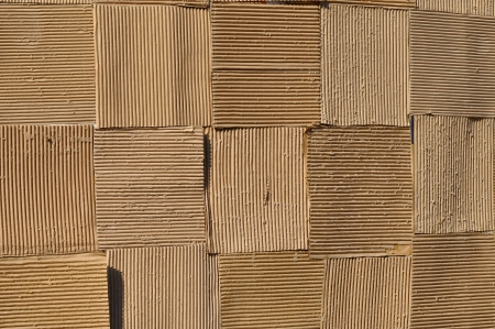 one sheet: Corrugated fiberboard is a paper-based material consisting of a fluted corrugated sheet and one or two flat linerboards. Stock Photo