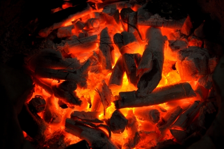 ember: Charcoal burning is what makes human use such as cooking or providing warmth etc. Stock Photo