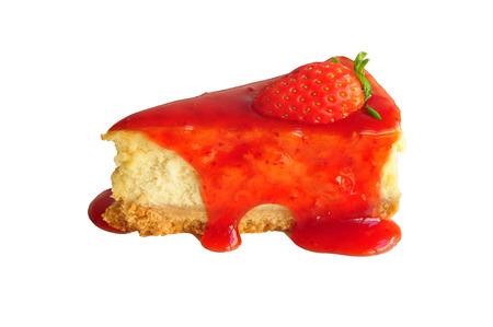 Strawberry cheesecake with fresh strawberry isolated on white  photo