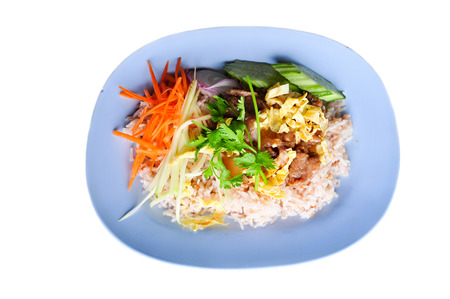 freshest: Khao kluk kapi is one of the finest and freshest single plate Thai dishes available. Stock Photo