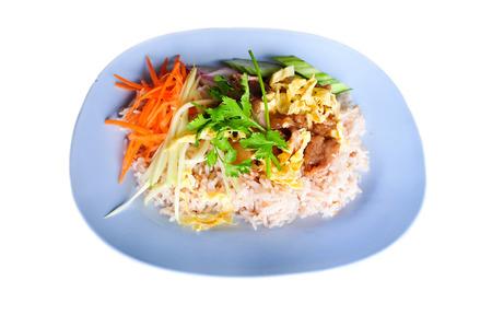 freshest: Khao kluk kapi is one of the finest and freshest single plate Thai dishes available. Stock Photo