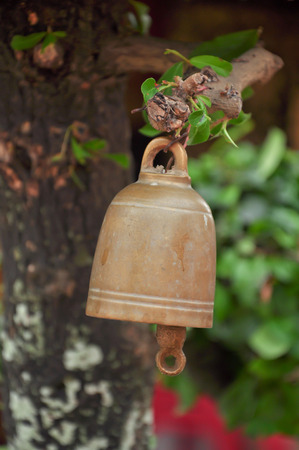 small buddhist bell hanging to worship. photo