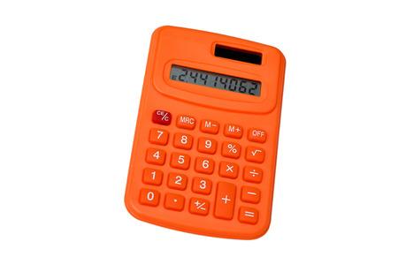 Orange calculator isolated on white background