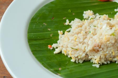 Crab fried rice on banana leaf