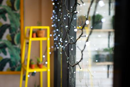 Blinker light garlands on glass background