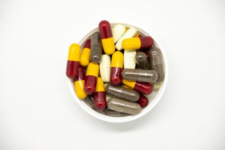 Mix medical pills and capsules isolated