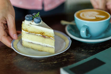cappuccino and blueberry cheese cake 免版税图像