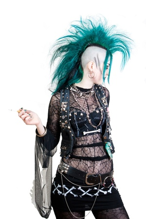 green haired postpunk girl is smoking on white background