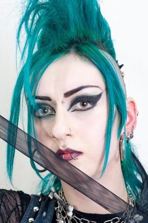 green haired postpunk girl on white background Stock Photo - 13358492