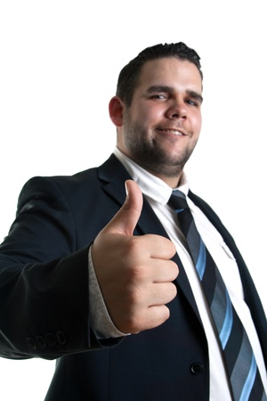 portrait of young Businessman showing thumb up gesture Stock Photo - 13653770