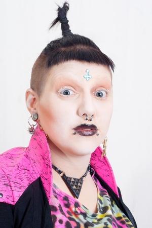 sidecut: Portrait of a Postpunk Girl in Pink Stock Photo