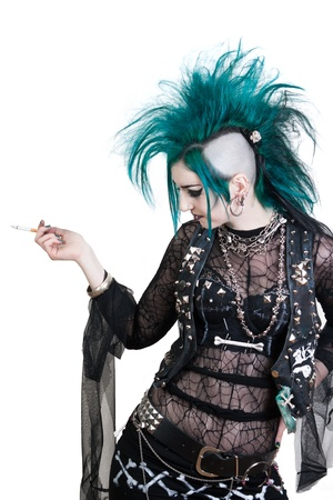 green haired postpunk girl is smoking on white background Stock Photo - 14735885