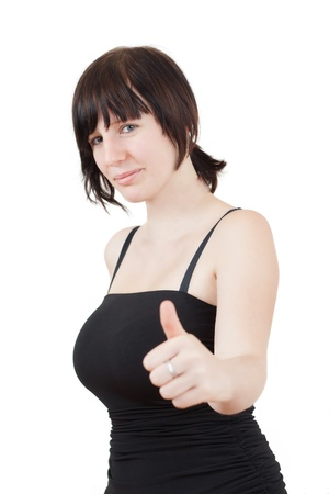 cute brunette girl with blue eyes is showing the thumbs up gesture on white background Stock Photo - 14825488