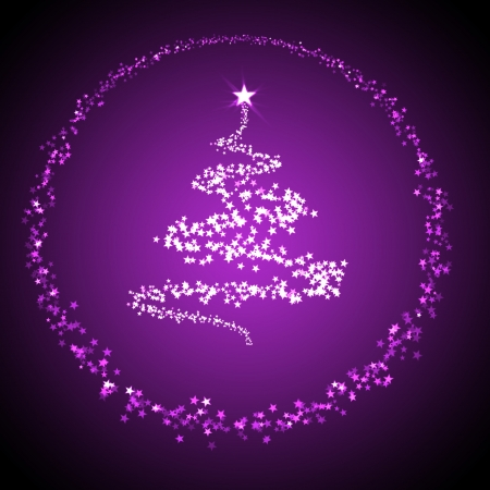 chrismas: christmas background for your designs with a christmas tree in purple Stock Photo