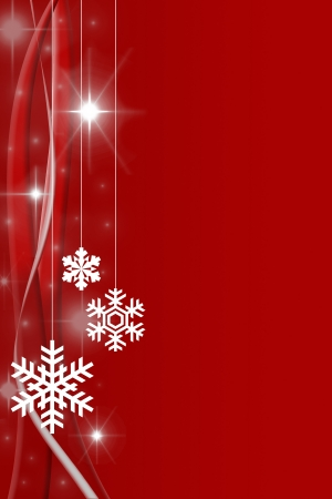 christmas background for your designs in red with swirls and snowflakes
