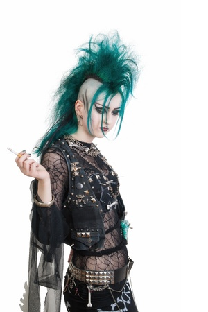 sidecut: green haired postpunk girl smoking a cigarette on white background