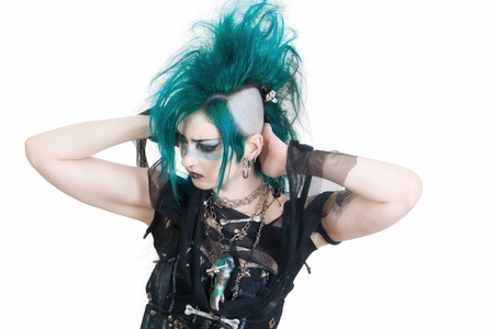 green haired postpunk girl on white background Stock Photo - 16037306
