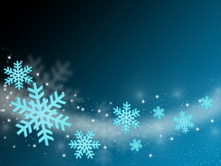 flying snow flake in abstract blue background photo