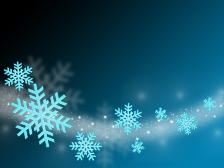 decode: flying snow flake in abstract blue background