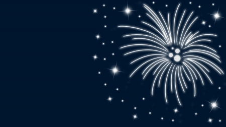 Silvestercard with fireworks and stars in blue