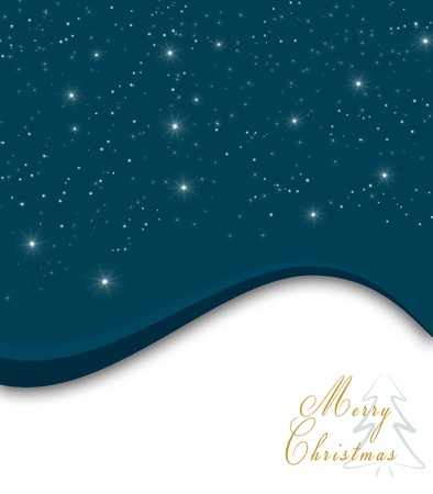 Blue Christmas background with white snowflakes, stars and Merry Christmas text photo