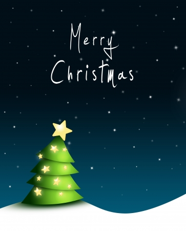 nightly: nightly Christmas background with green fir tree, stars and Merry Christmas text