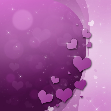Valentines Day Card with hearts in purple photo