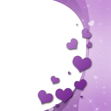 shiny hearts: Valentines Day Card with hearts in purple Stock Photo