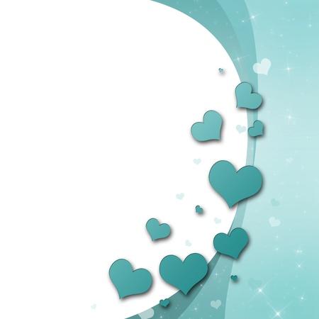 papel tapiz turquesa: Tarjeta del d�a de San Valent�n con corazones en color turquesa verde